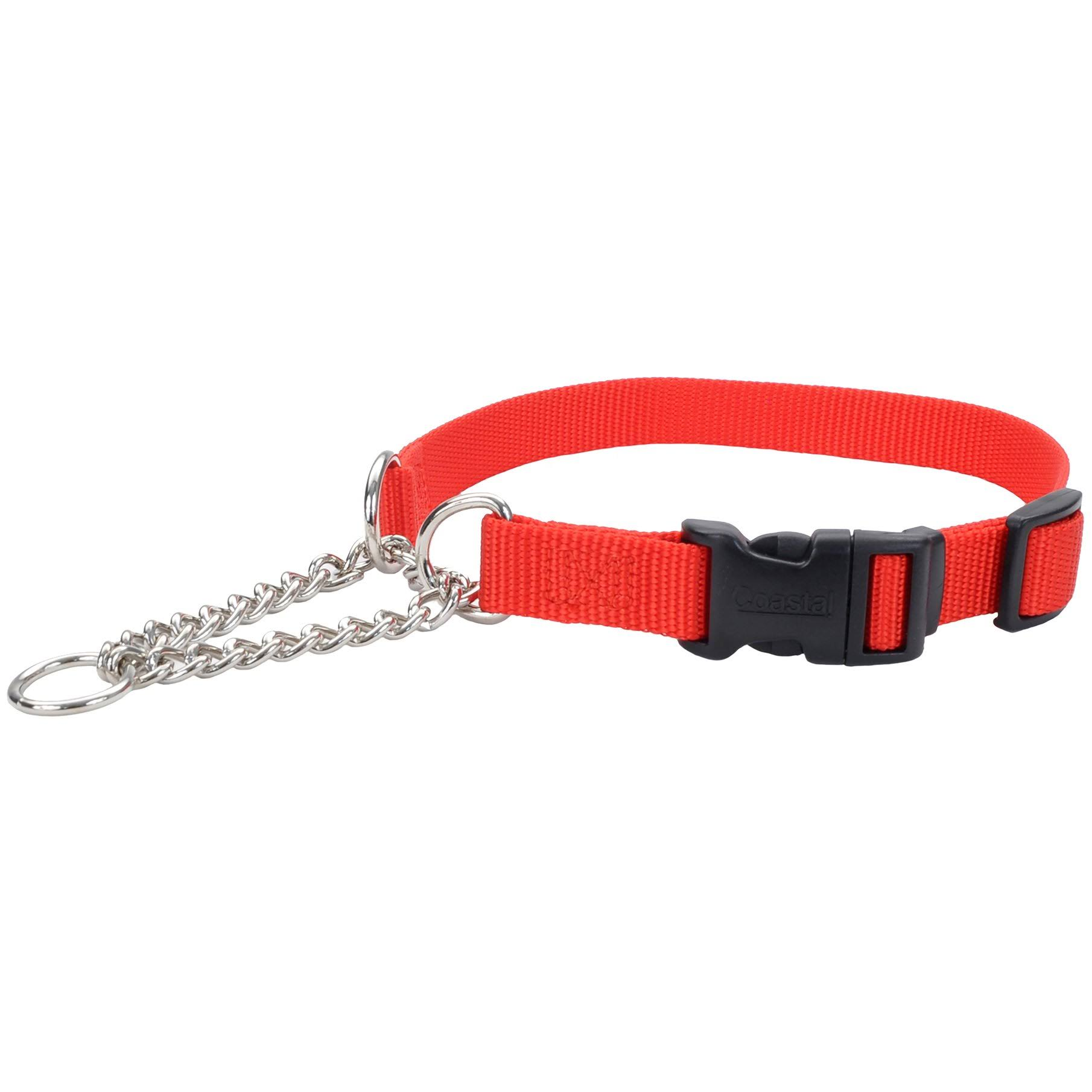 "Adjustable 1"" Check Training Collar w/Buckle 22"" to 29"" Red"