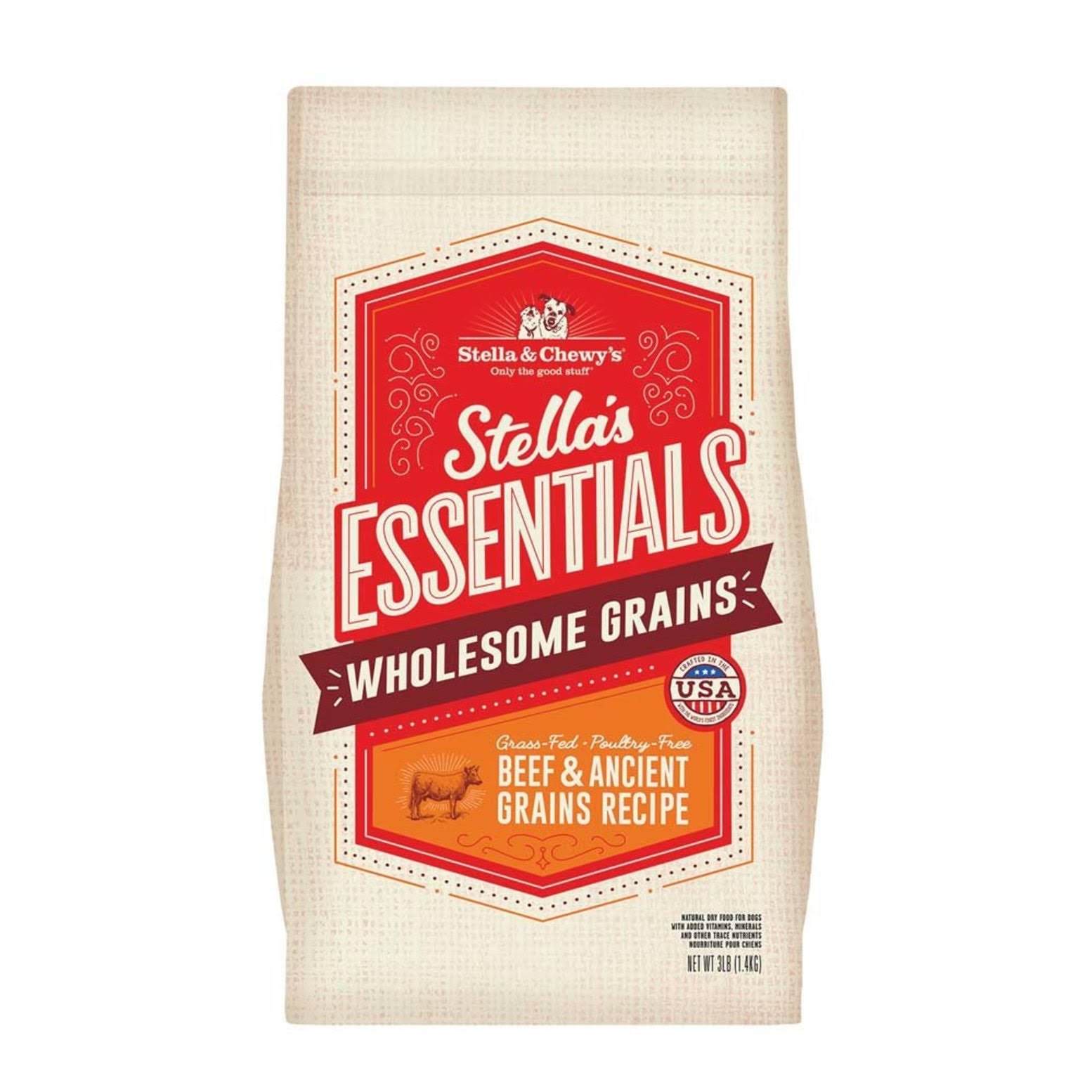 Stella & Chewy's Essentials Ancient Grains Grass-Fed Beef Dog Food 25-lb
