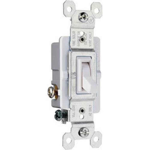 Pass & Seymour Toggle Switch - 15A, White, 120V