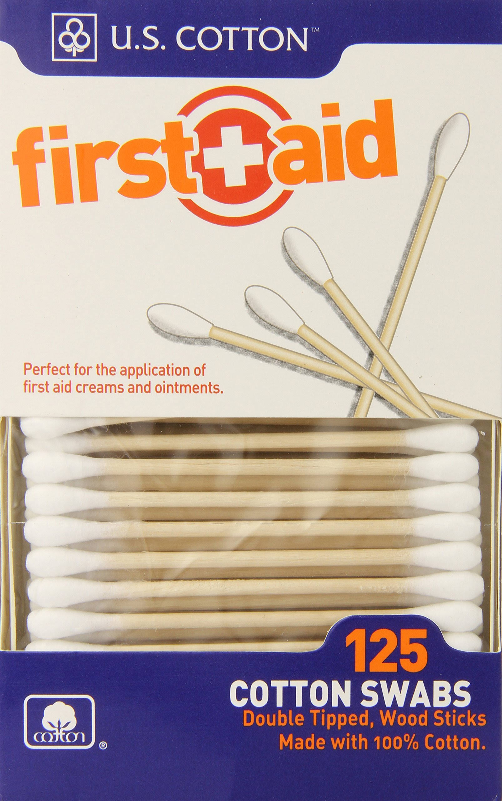 First Aid Cotton Swabs - 125 ct
