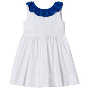 Il GUFO White and Blue Frill Collar Sleeveless Dress
