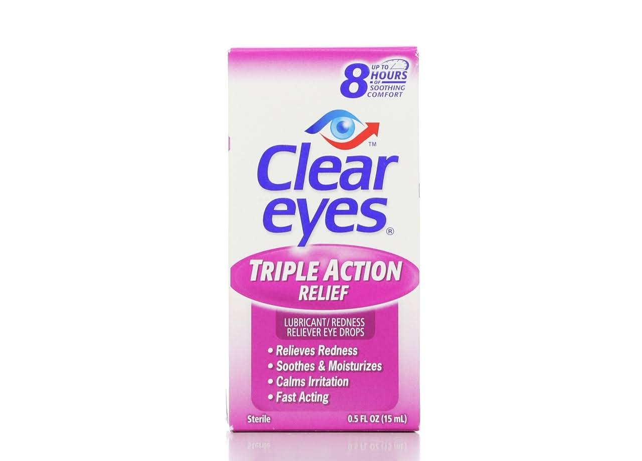 Clear Eyes Triple Action Sterile Lubricant & Redness Reliever Eye Drops - 15ml