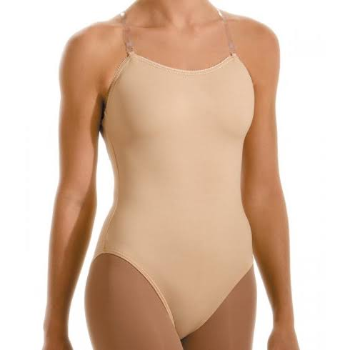 Motionwear Underwear Convertible Clear Strap Leotard - Beige, Large