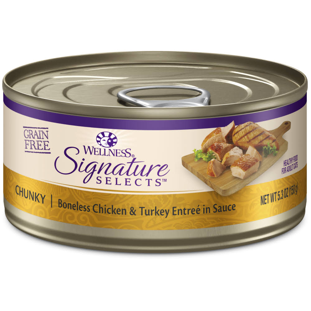 Wellness Core Signature Selects Grain Free Wet Canned Cat Food - Chunky Chicken and Turkey, 5.3oz, 12pk