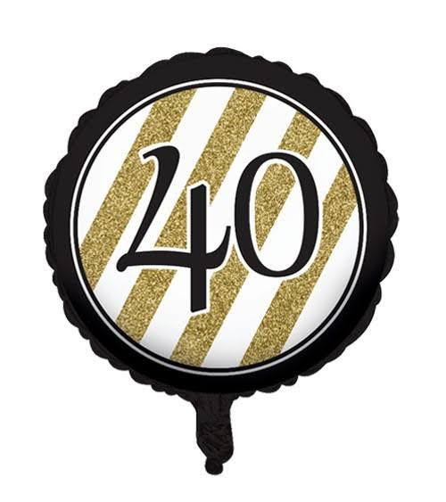Creative Converting 40th Birthday Balloon - Black, Gold