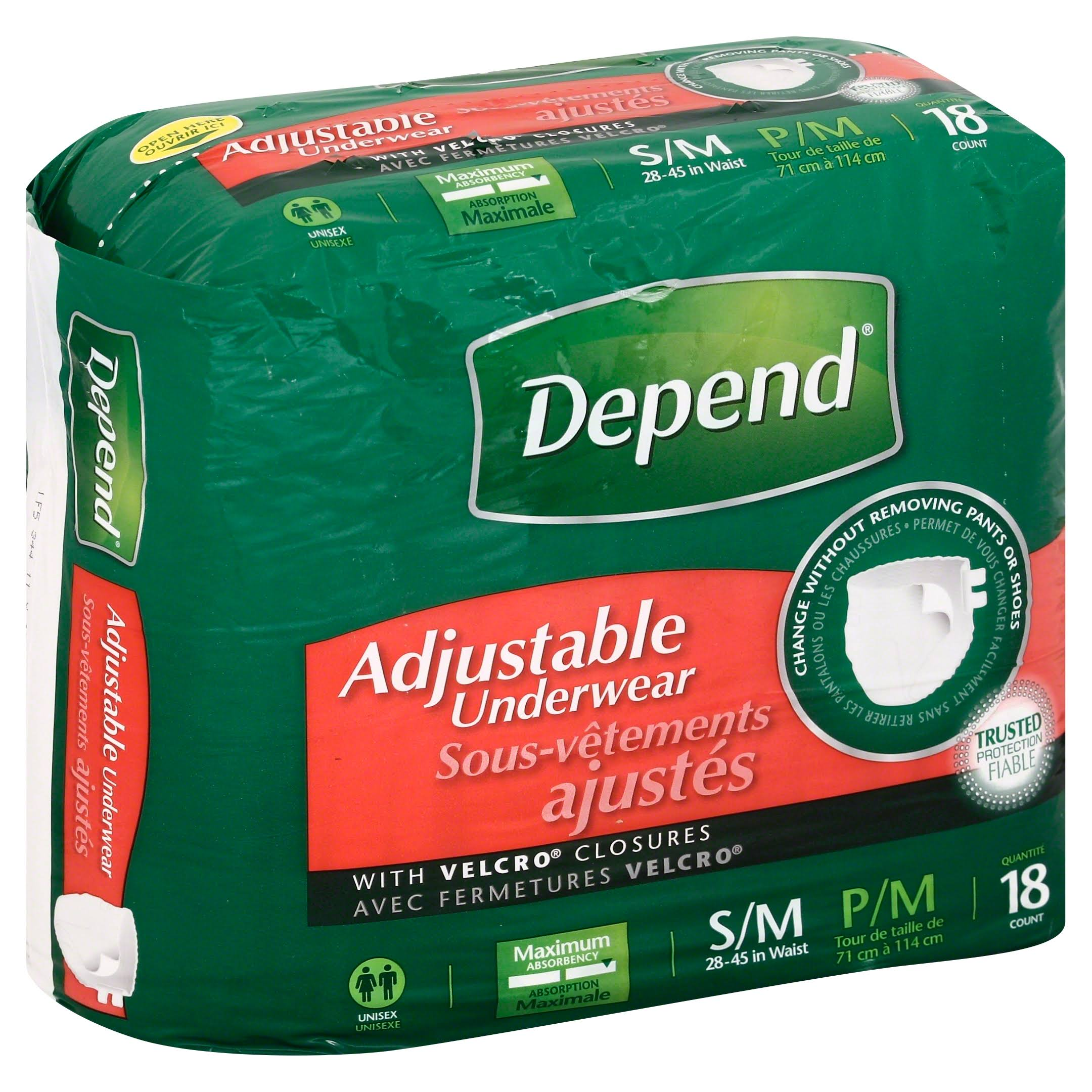 Depend Adjustable Underwear - Small-Medium, 18ct