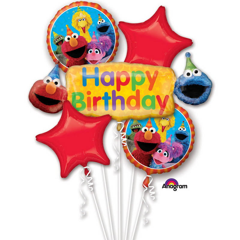 Anagram Elmo Sesame Street Happy Birthday Foil Balloon Bouquet