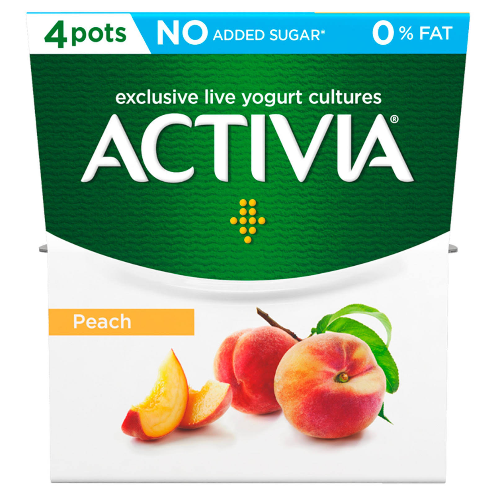 Activia 0% Fat Yogurt - Peach, 4ct, 120g