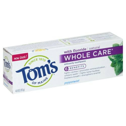 Toms of Maine Whole Care Toothpaste, Anticavity, Peppermint - 4.0 oz