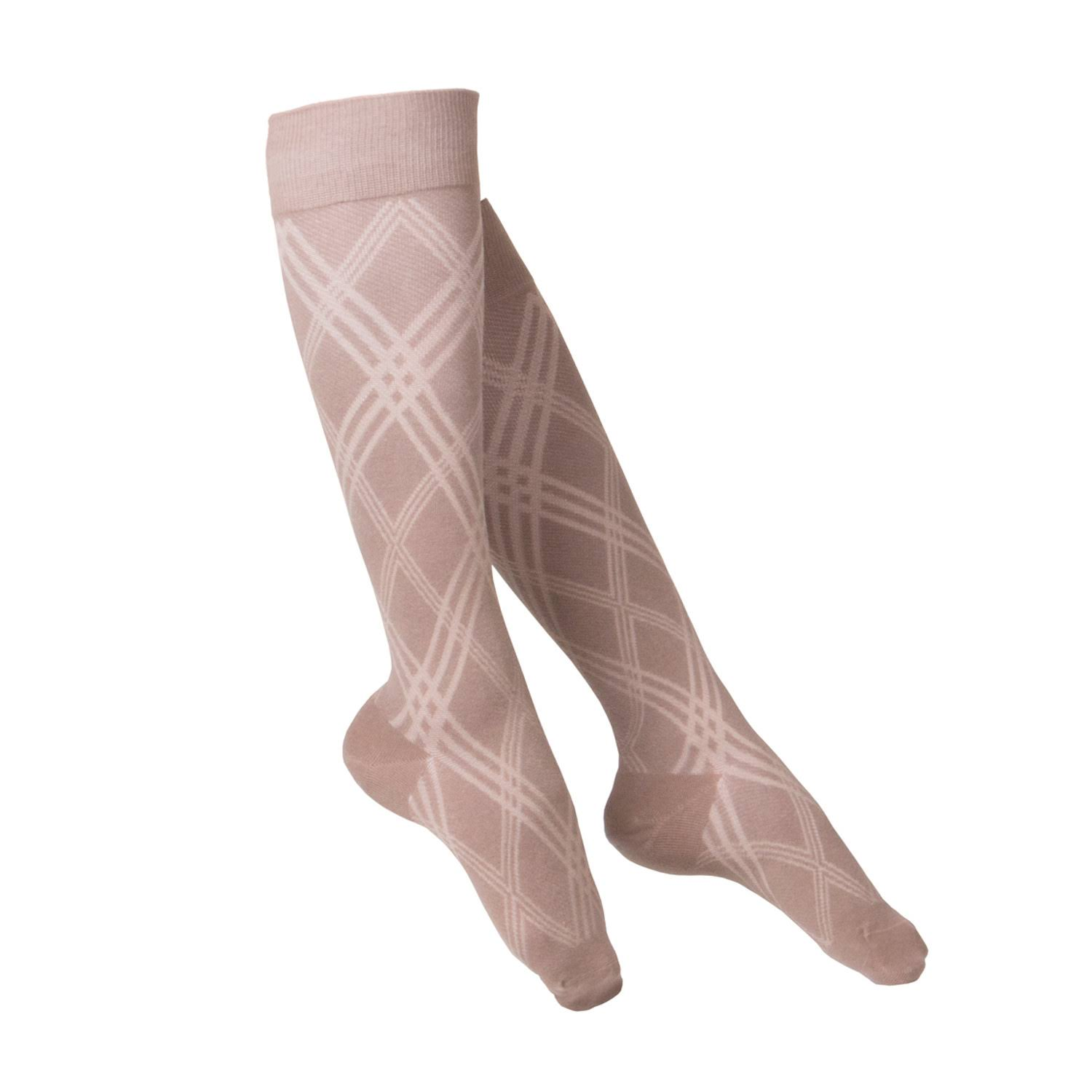 Touch 1064, Women's Compression Socks, Knee High, Argyle Pattern, 15-20 mmHg, Tan, Small