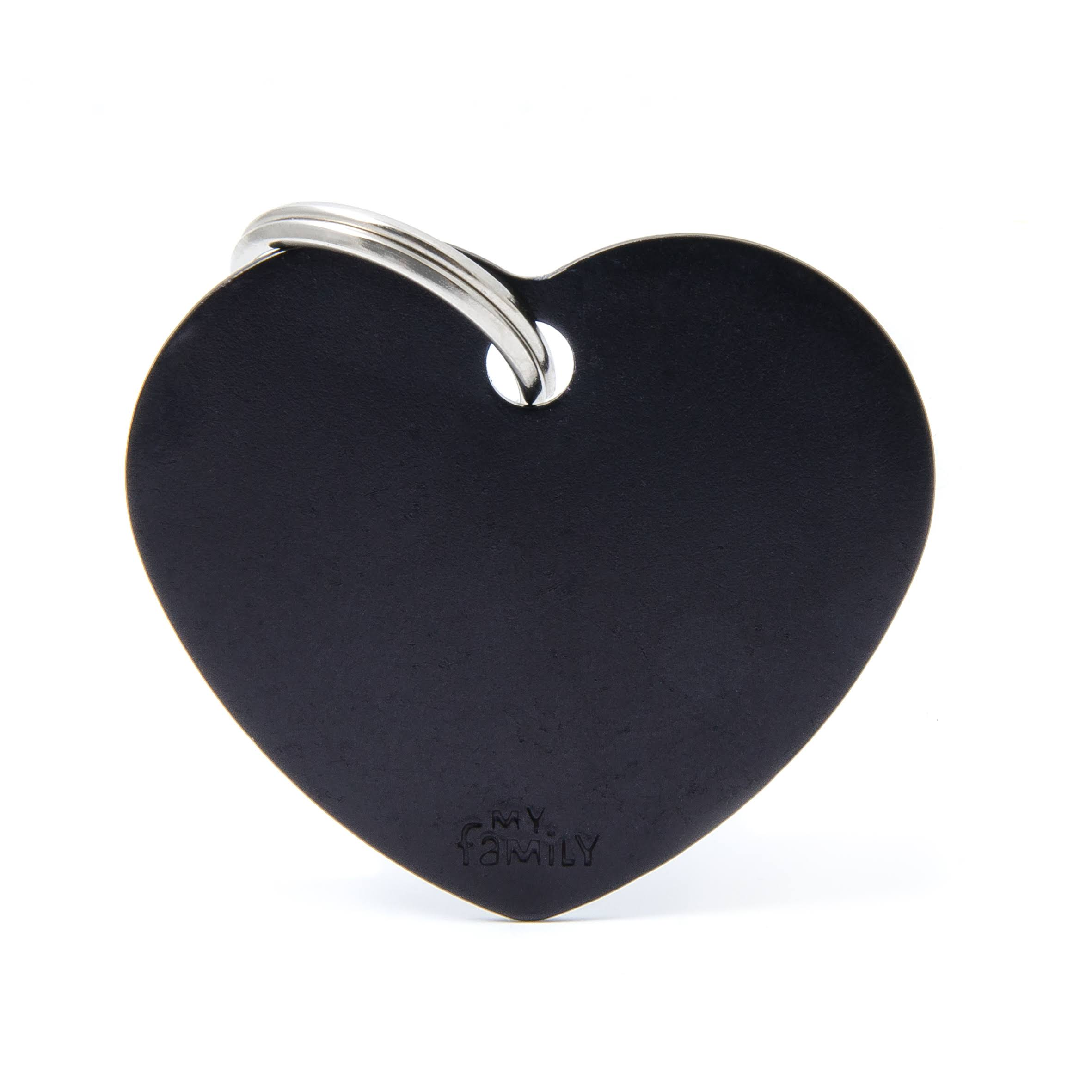 My Family Pet Id Tag - Black, Heart, Large