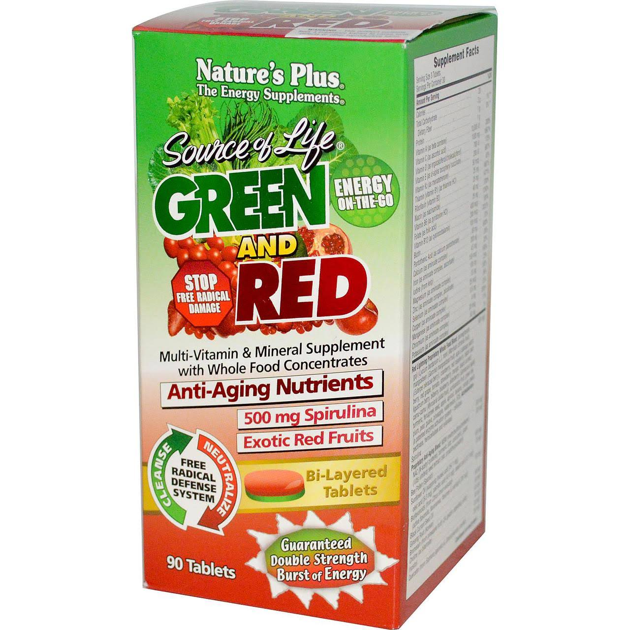 Nature's Plus Source Of Life Green & Red Multivitamin & Mineral Supplement - 90 Tablets