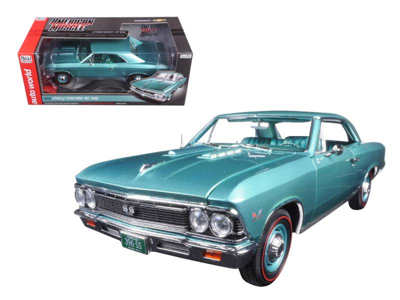 Autoworld 1966 Chevrolet Chevelle SS 396 L78 Artesian Turquoise 50th Engine Anniversary Limited Edition to 1002pc 1/18 Diecast