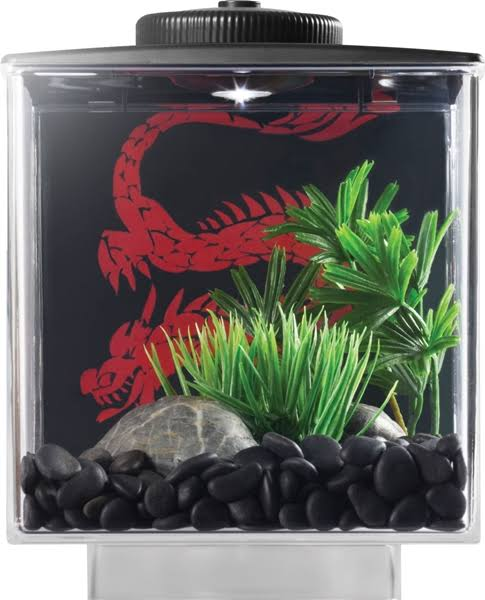 Elive Betta Cube with LED Light - Black, 0.75 gal