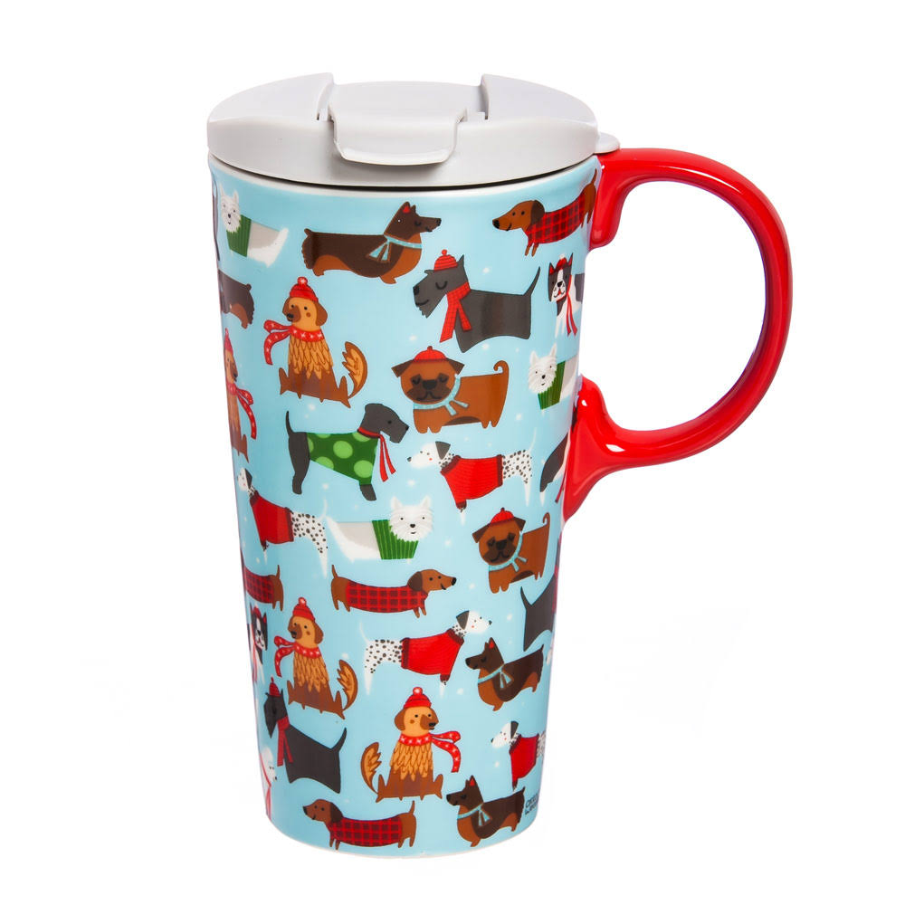 Cypress Home Festive Fidos Ceramic Travel Coffee Mug 17 Ounces