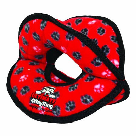 Tuffy Ultimates 4-Way Ring Dog Toy - Red Paws