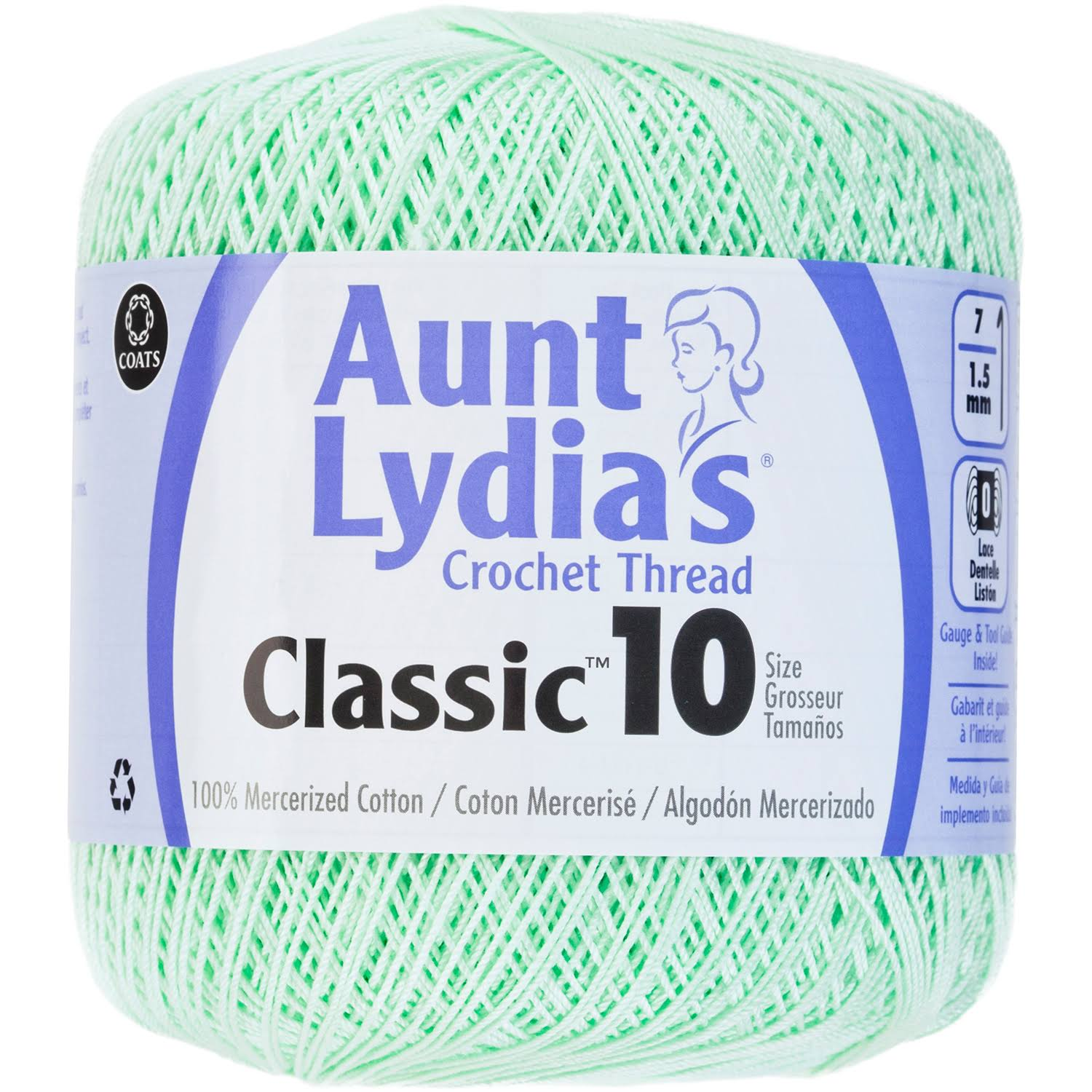 Aunt Lydia's Classic Cotton Crochet Thread - Size 10, 350yd, Mint Green