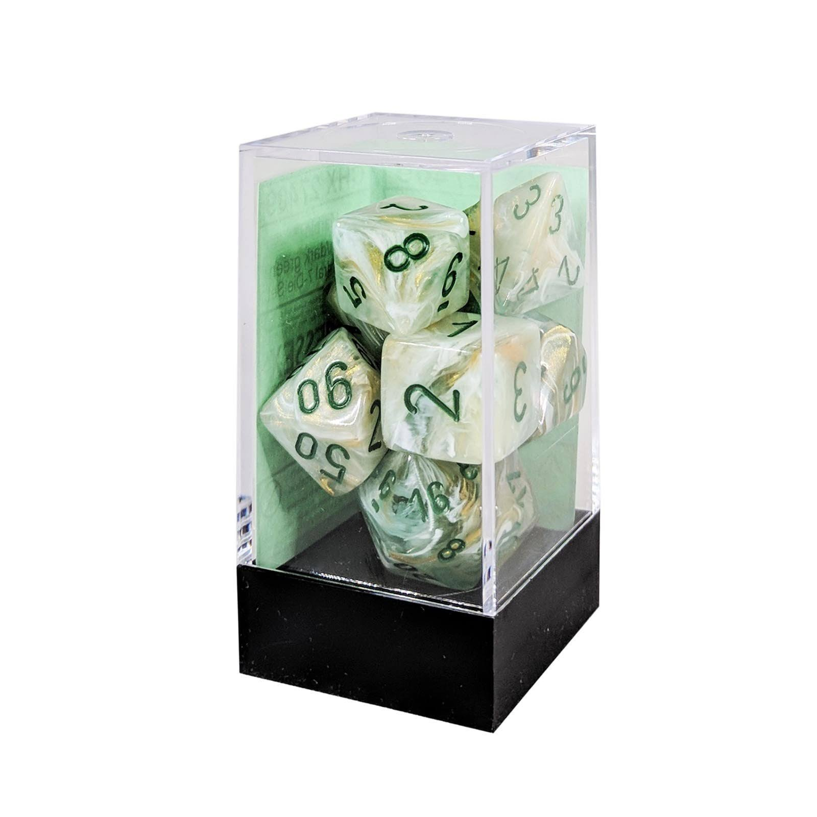 Chessex Polyhedral 7 Dice Set Marble Dark Green