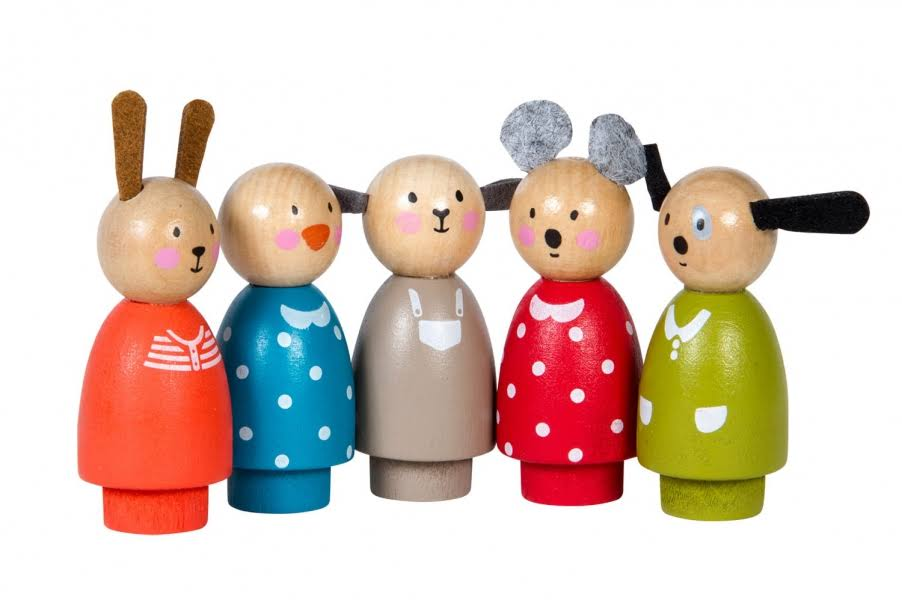 Moulin Roty La Grande Famille Wooden Characters - 5pcs