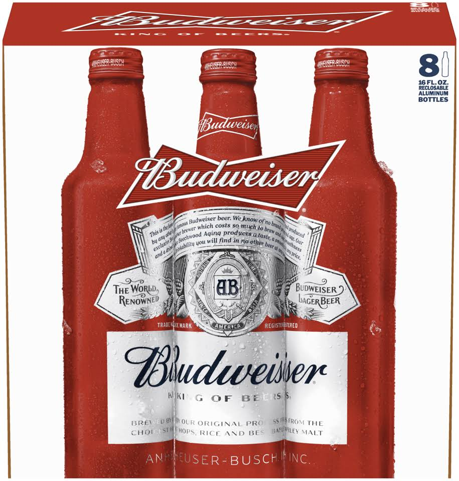 Budweiser Beer - 8 pack, 16 oz bottles