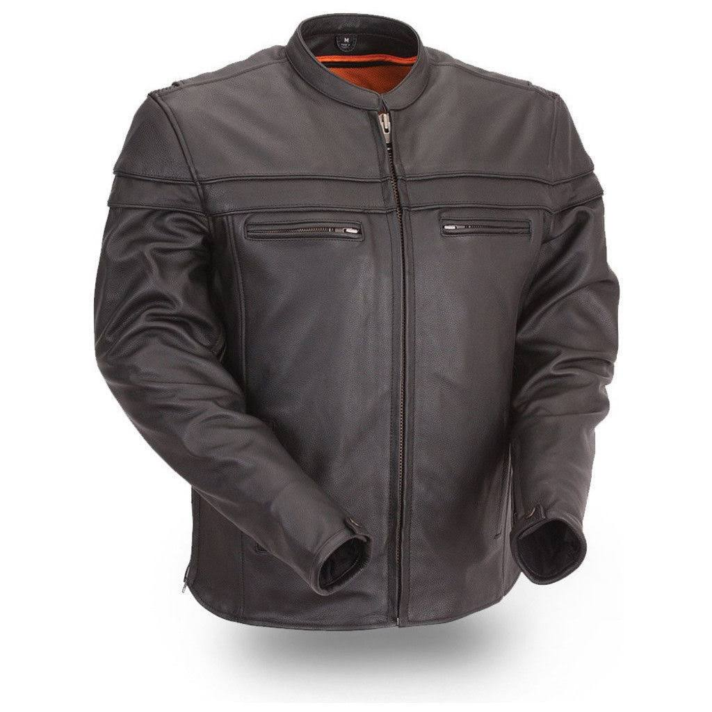 First Manufacturing The Maverick - Motorcycle Leather Jacket Black